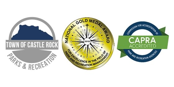 Town of Castle Rock Parks and Recreation, NRPA Gold Medal Award, and CAORA Accreditation logos