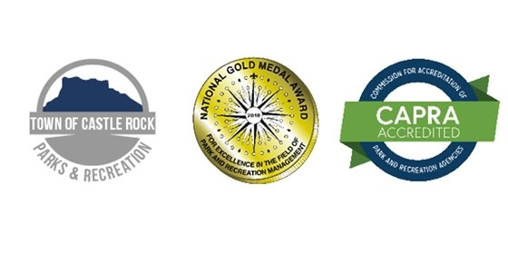 Town of Castle Rock logo, NRPA Gold Medal Award logo, CAPRA Accreditation logo