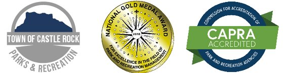Parks & Recreation logo, NRPA gold Medal Award logo, CAPRA Accreditation logo