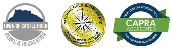 Parks and Recretion logo, NRPA Gold Medal Award logo, CAPRA Accreditation logo