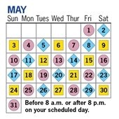 Residential watering schedule for May