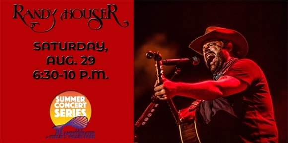 Randy Houser banner graphic with photo of Randy playing guitar and singing under red lights