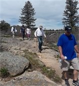 Hikers on trail at Castlewood Canyon