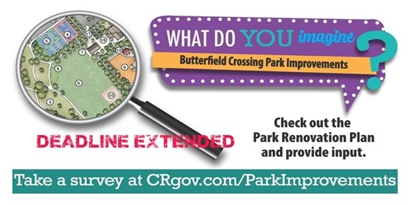 Butterfield Crossing Park Improvements postcard front with deadline extended