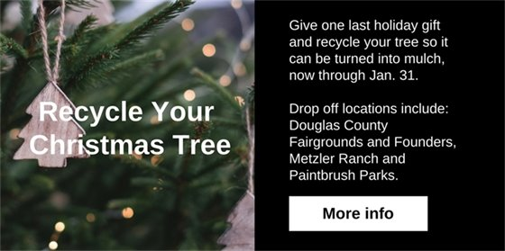Recycle your Christmas by dropping it off so it can be turned into mulch. Drop off locations include Douglas County Fairgrounds, Founders Park, Metzler Ranch Park and Paintbrush Park. Please remove everything prior to drop off. Mulch will also be available while supplies last.