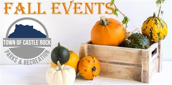 Pumpkins and gourds in wooden box with headline Fall Events and Parks and Recreation logo