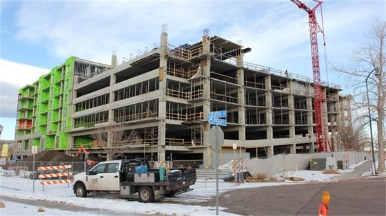 Photo of the Encore parking garage under construction