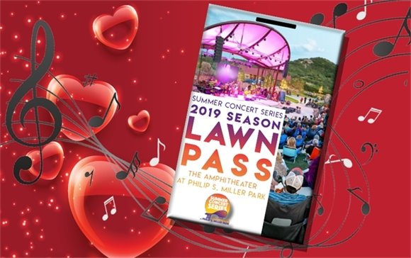 Heart background with music notes and season lawn pass on top