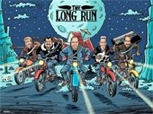 Animated graphic of band members on motorcycles driving on road through desert canyon
