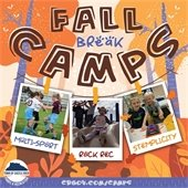 Fall Break Camp graphic with animated trees in background with 3 poloroid pictures hanging off of a clothsline