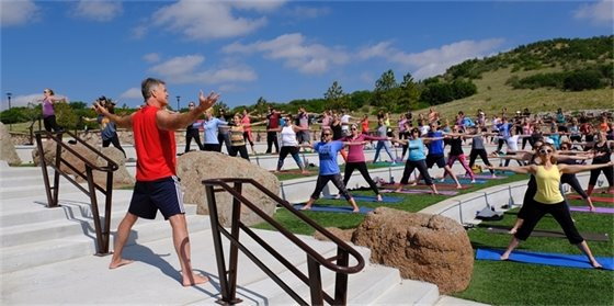 yoga class at the amphitheater