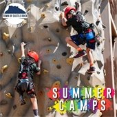 Campers rock climbing with Parks and Rec logo and Summer Camp logo