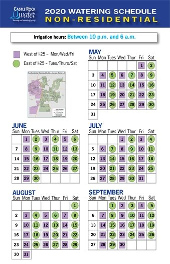 Non-residential watering schedule