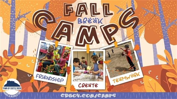 Fall Break Camps graphic featuring three camp photos
