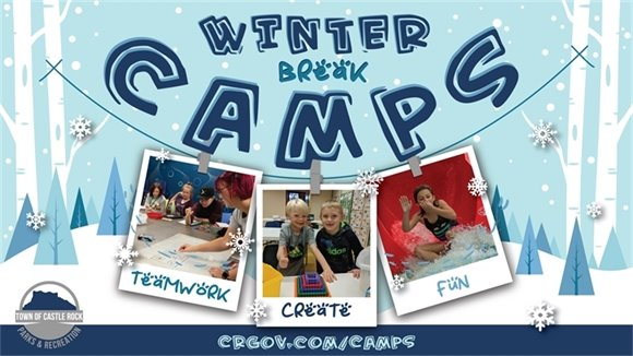 Winter Break Camp graphic with winter scene and 3 Polaroid picturesss