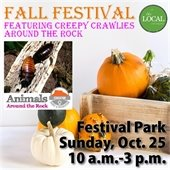 Fall Festival graphic with Animals Around the Rock and pumkins in wood box