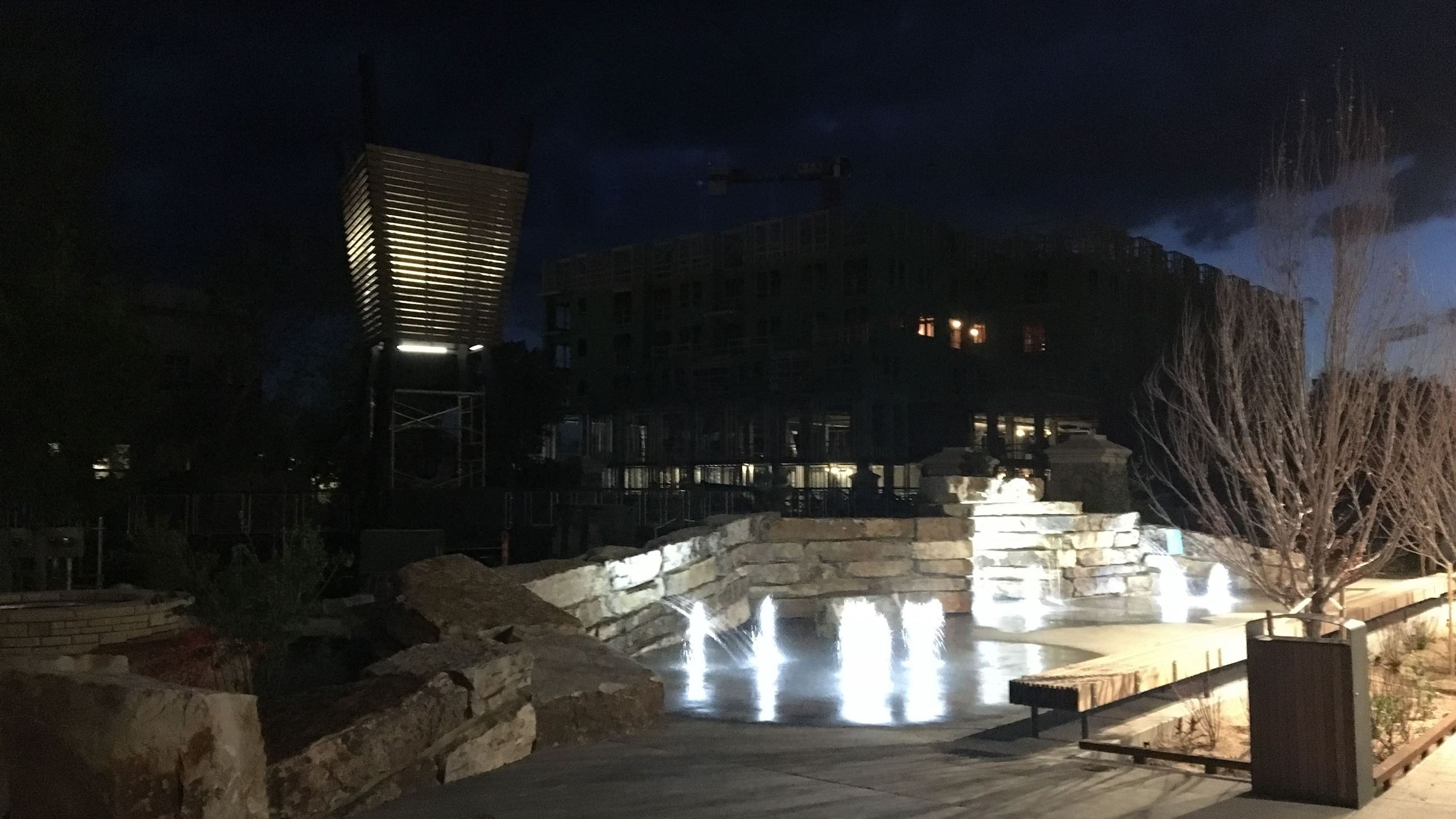 The splash pad at night