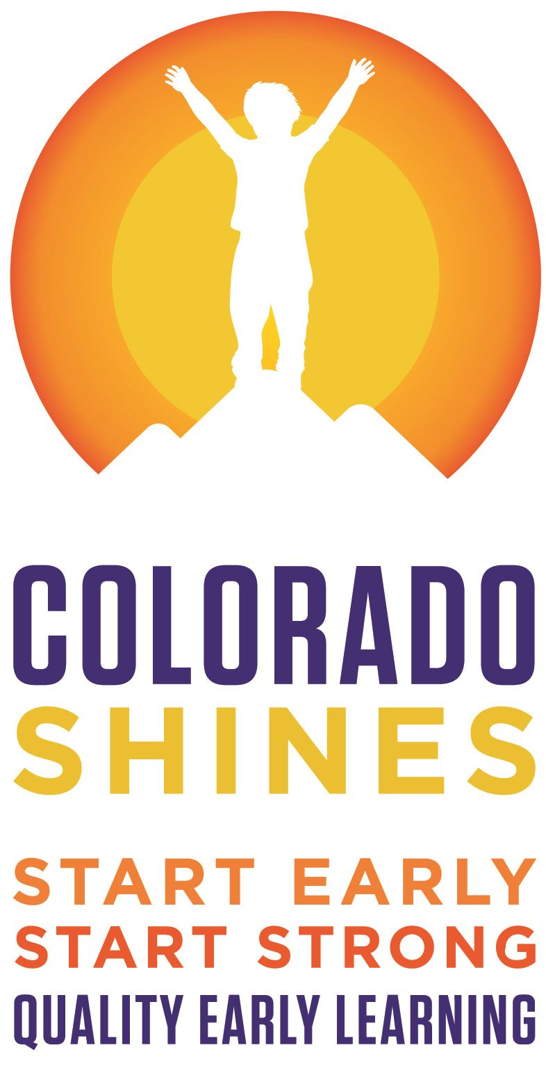 Colorado Shines vertical logo of boy on mountain top with sun behind him