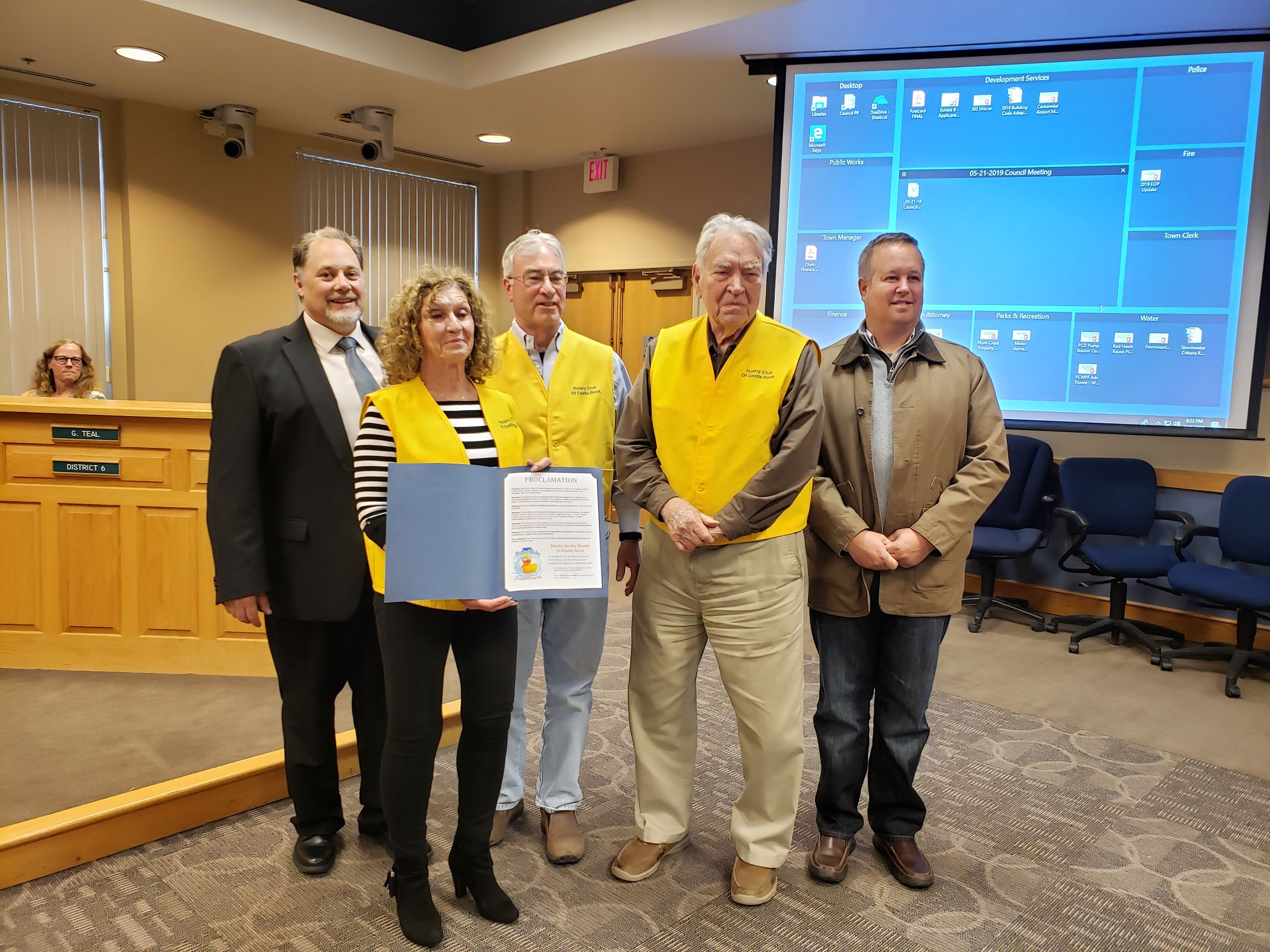 Duck Derby Month proclamation with Rotary Club and Mayor Gray