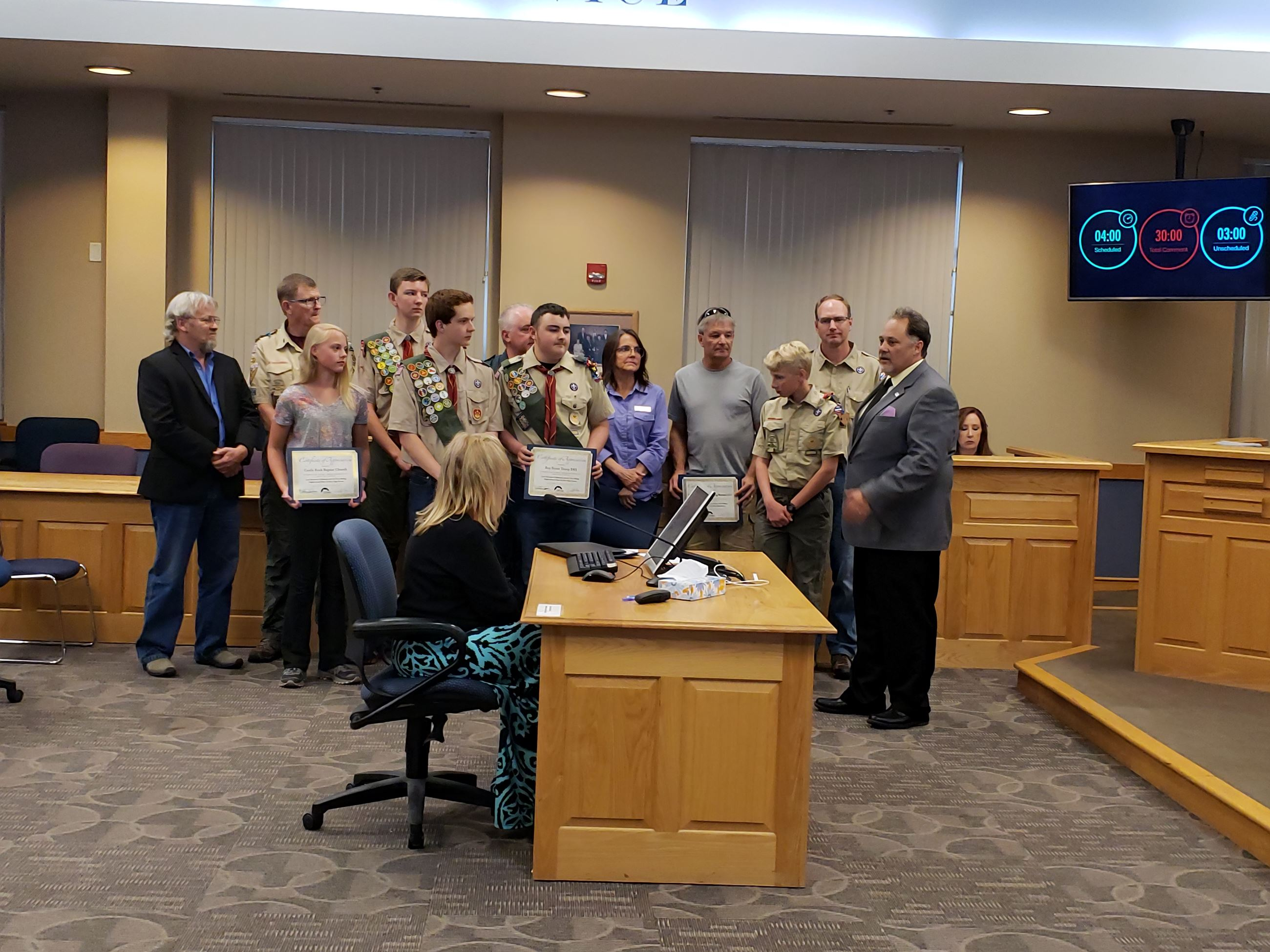 Certificates of Appreciation to volunteers, boy scouts for making 2019 Clean Up Event a huge success