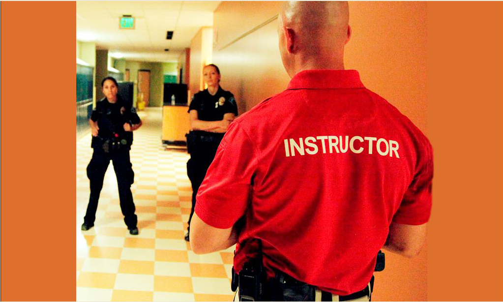 Training with instructor in red shirt