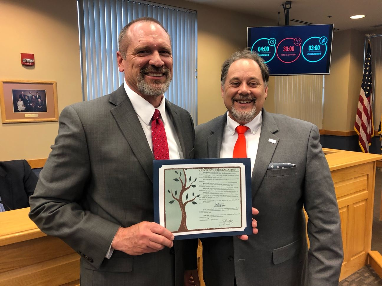 Proclamation Arbor Day 2019 with Parks and Recreation Director Jeff Brauer and Mayor Jason Gray
