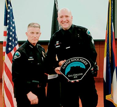 2018 One-By-One Policing Award presented to Sergeant Kal Collins by Chief Cauley