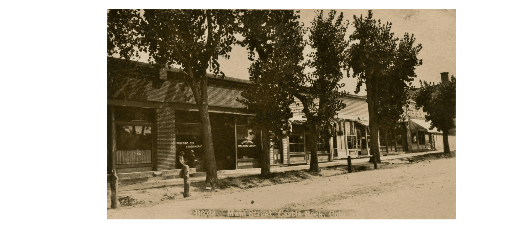 The 300 block of Wilcox Street before the road was paved, between 1900 and 1910.